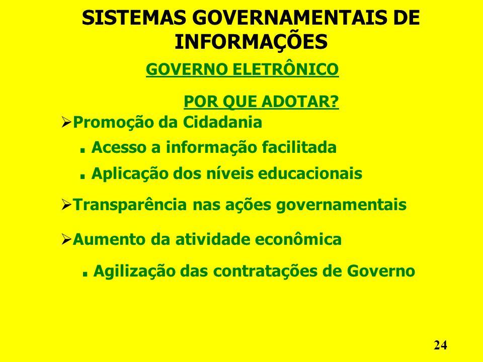GOVERNO ELETRÔNICO SISTEMAS GOVERNAMENTAIS DE INFORMAÇÕES 24 POR QUE ADOTAR.