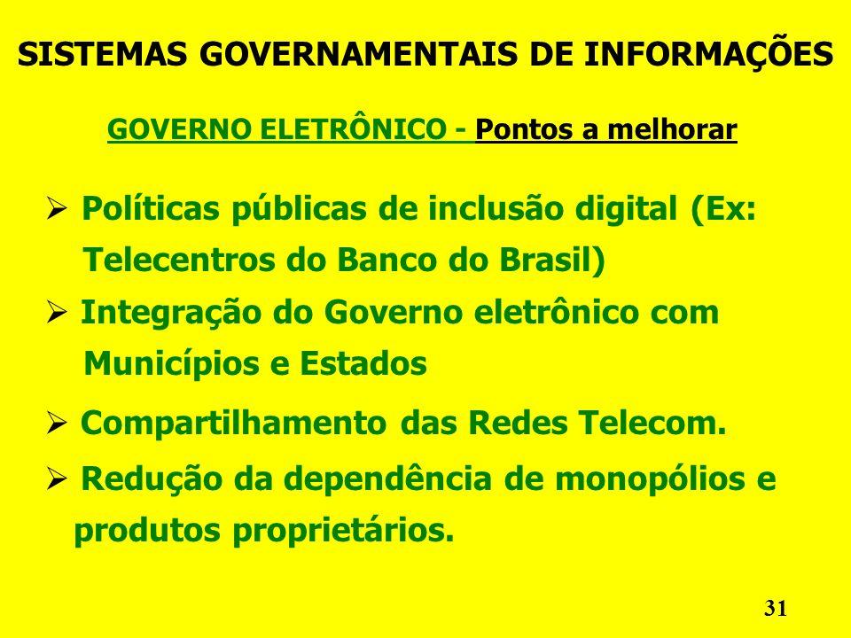 GOVERNO ELETRÔNICO - Pontos a melhorar SISTEMAS GOVERNAMENTAIS DE INFORMAÇÕES 31 Políticas públicas de inclusão digital (Ex: Telecentros do Banco do Brasil) Integração do Governo eletrônico com Municípios e Estados Compartilhamento das Redes Telecom.