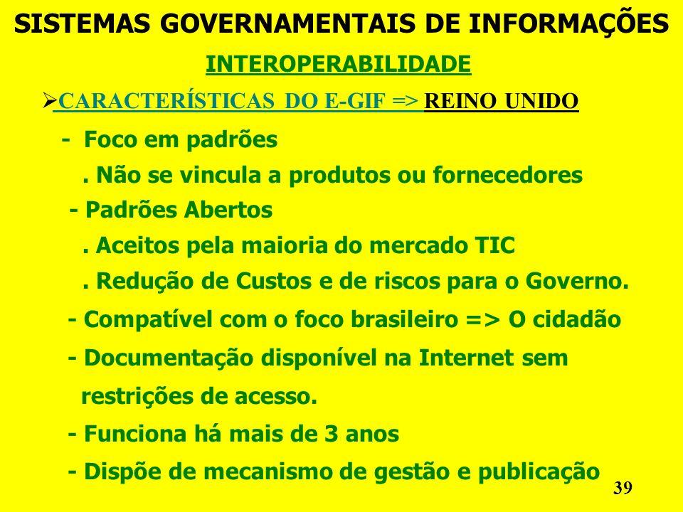 INTEROPERABILIDADE SISTEMAS GOVERNAMENTAIS DE INFORMAÇÕES 39 CARACTERÍSTICAS DO E-GIF => REINO UNIDO - Foco em padrões.