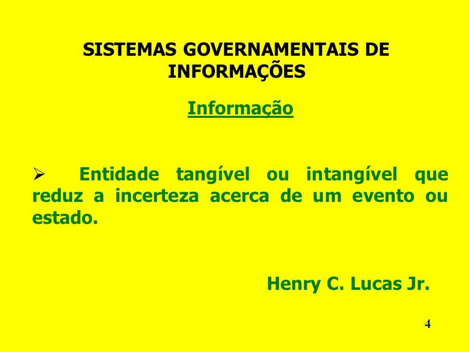 SISTEMAS GOVERNAMENTAIS DE INFORMAÇÕES Informação Entidade tangível ou intangível que reduz a incerteza acerca de um evento ou estado.