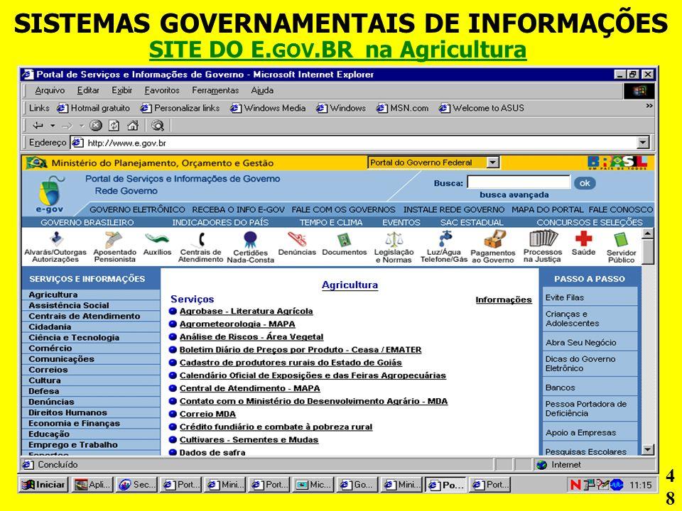 SISTEMAS GOVERNAMENTAIS DE INFORMAÇÕES SITE DO E. GOV.BR na Agricultura 48