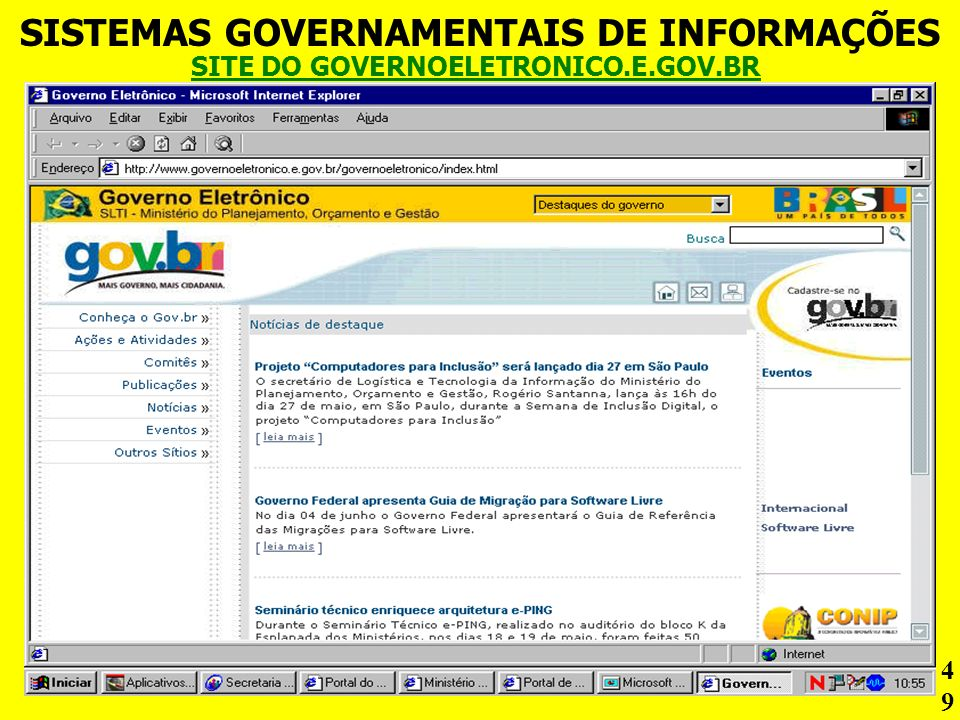 SISTEMAS GOVERNAMENTAIS DE INFORMAÇÕES SITE DO GOVERNOELETRONICO.E.GOV.BR 49