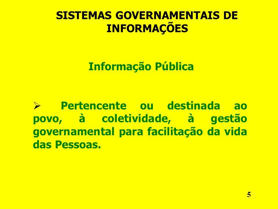SISTEMAS GOVERNAMENTAIS DE INFORMAÇÕES Informação Pública Pertencente ou destinada ao povo, à coletividade, à gestão governamental para facilitação da vida das Pessoas.
