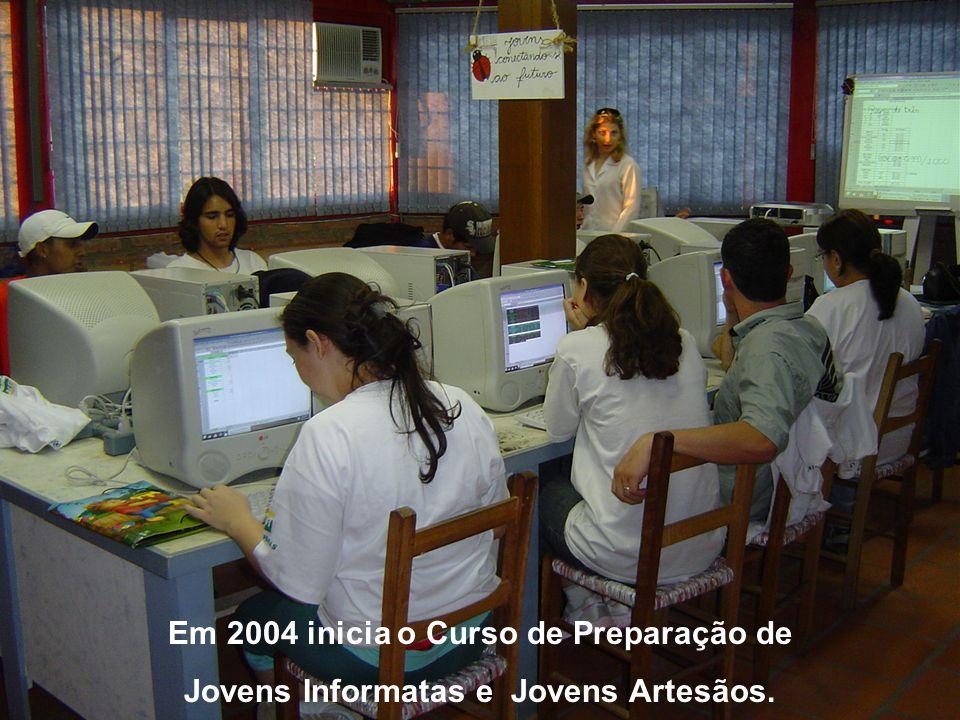 Em 2004 inicia o Curso de Preparação de Jovens Informatas e Jovens Artesãos.