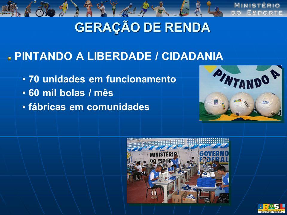 GERAÇÃO DE RENDA PINTANDO A LIBERDADE / CIDADANIA 70 unidades em funcionamento 60 mil bolas / mês fábricas em comunidades