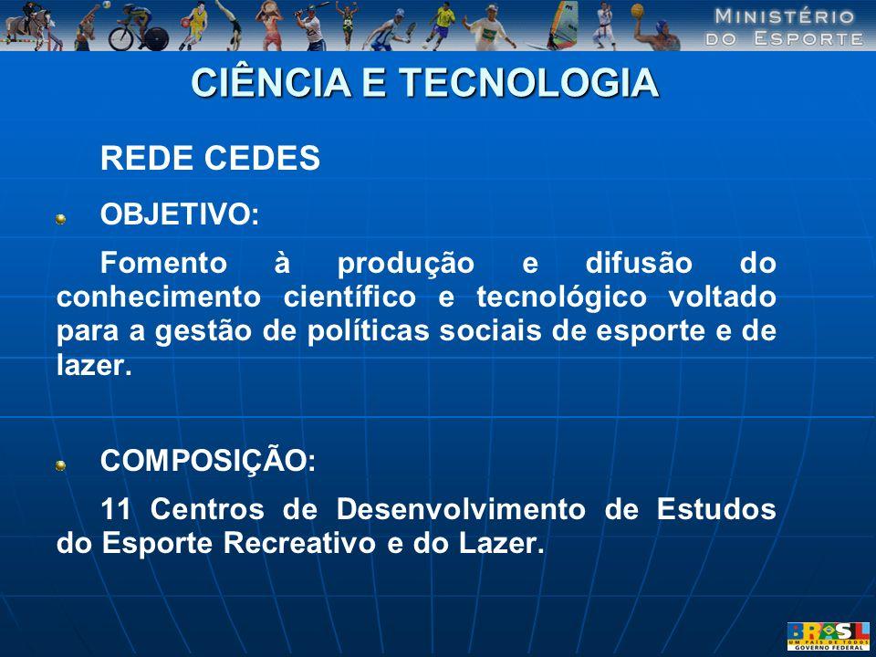 CIÊNCIA E TECNOLOGIA REDE CEDES OBJETIVO: Fomento à produção e difusão do conhecimento científico e tecnológico voltado para a gestão de políticas soc