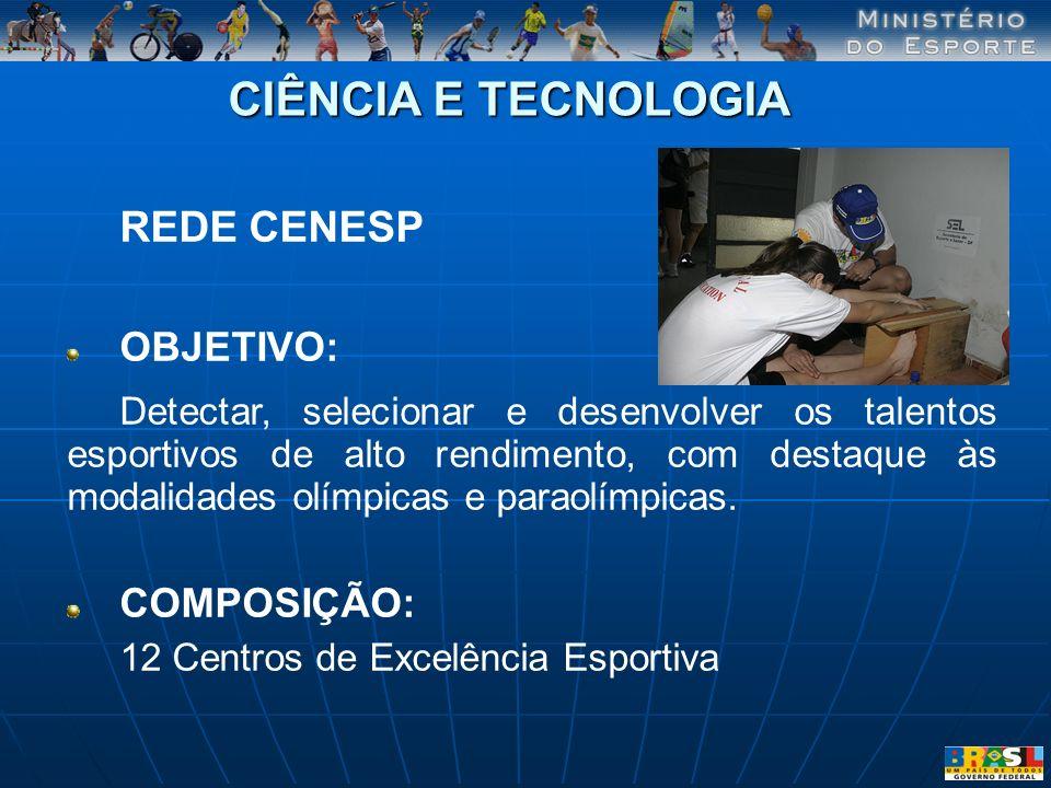 CIÊNCIA E TECNOLOGIA REDE CENESP OBJETIVO: Detectar, selecionar e desenvolver os talentos esportivos de alto rendimento, com destaque às modalidades o