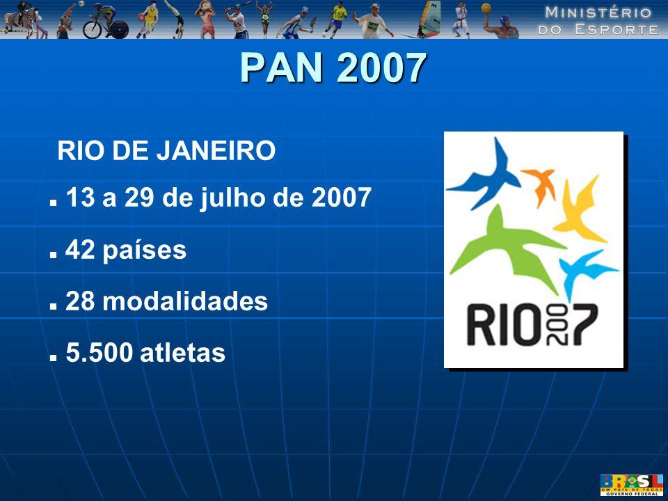 PAN 2007 RIO DE JANEIRO 13 a 29 de julho de 2007 42 países 28 modalidades 5.500 atletas
