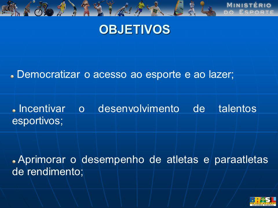Democratizar o acesso ao esporte e ao lazer; OBJETIVOS Incentivar o desenvolvimento de talentos esportivos; Aprimorar o desempenho de atletas e paraat