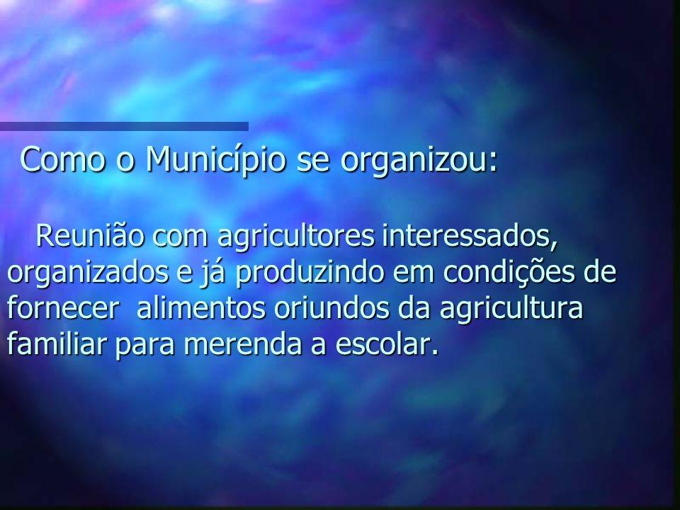 Como o Município se organizou: Reunião com agricultores interessados, organizados e já produzindo em condições de fornecer alimentos oriundos da agric