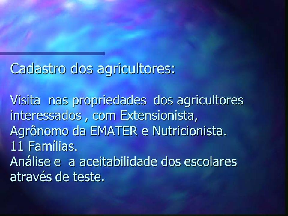 Cadastro dos agricultores: Visita nas propriedades dos agricultores interessados, com Extensionista, Agrônomo da EMATER e Nutricionista. 11 Famílias.