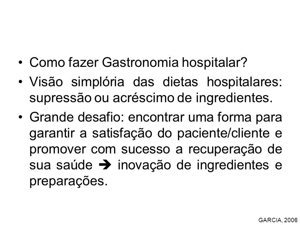 Como fazer Gastronomia hospitalar? Visão simplória das dietas hospitalares: supressão ou acréscimo de ingredientes. Grande desafio: encontrar uma form