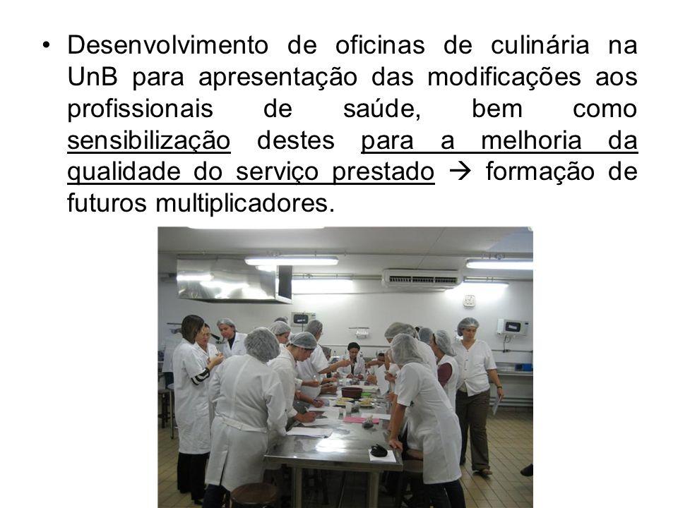 Desenvolvimento de oficinas de culinária na UnB para apresentação das modificações aos profissionais de saúde, bem como sensibilização destes para a m