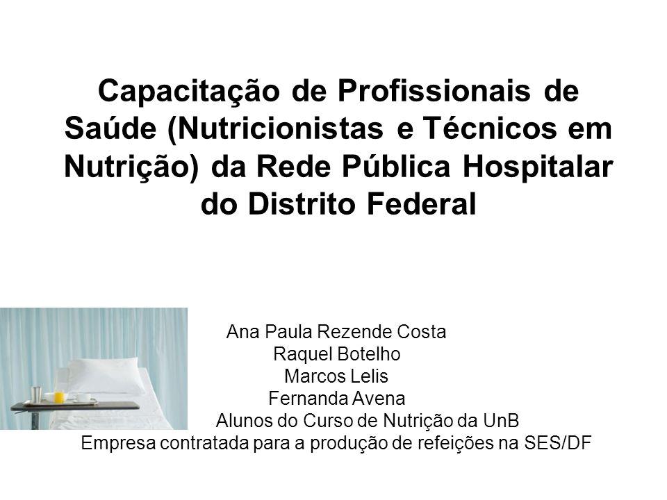 Capacitação de Profissionais de Saúde (Nutricionistas e Técnicos em Nutrição) da Rede Pública Hospitalar do Distrito Federal Ana Paula Rezende Costa R