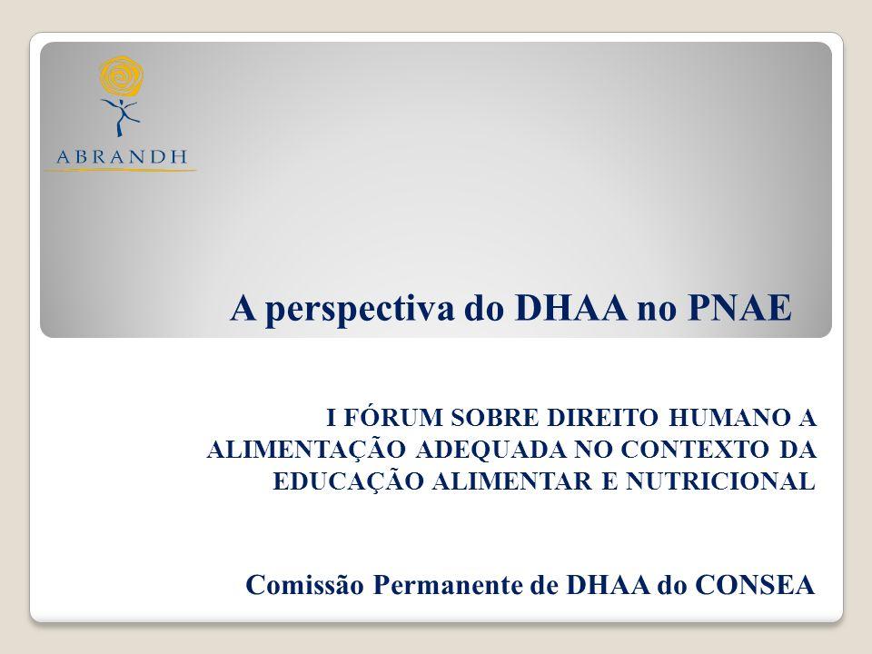 O DHAA no Programa Nacional de Alimentação Escolar Elaboração de 3 instrumentos de exigibilidade: a) 15 dimensões do DH à Alimentação Escolar b) Direitos, obrigações e responsabilidades no âmbito do PNAE c) Fluxograma de Denúncias