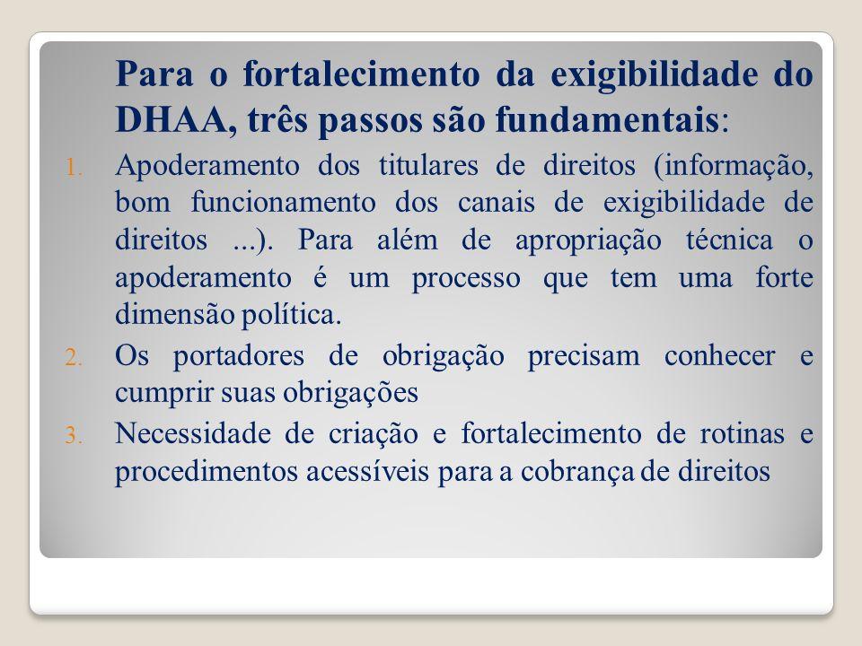 Para o fortalecimento da exigibilidade do DHAA, três passos são fundamentais: 1. Apoderamento dos titulares de direitos (informação, bom funcionamento
