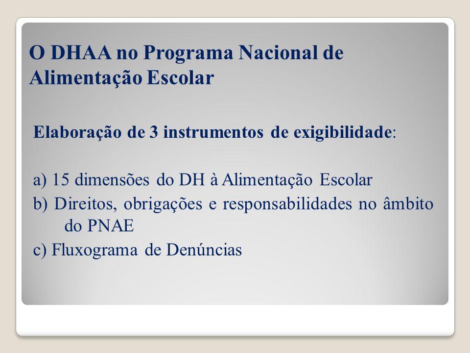O DHAA no Programa Nacional de Alimentação Escolar Elaboração de 3 instrumentos de exigibilidade: a) 15 dimensões do DH à Alimentação Escolar b) Direi