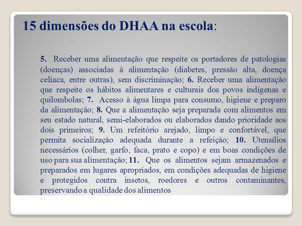15 dimensões do DHAA na escola: 5. Receber uma alimentação que respeite os portadores de patologias (doenças) associadas à alimentação (diabetes, pres