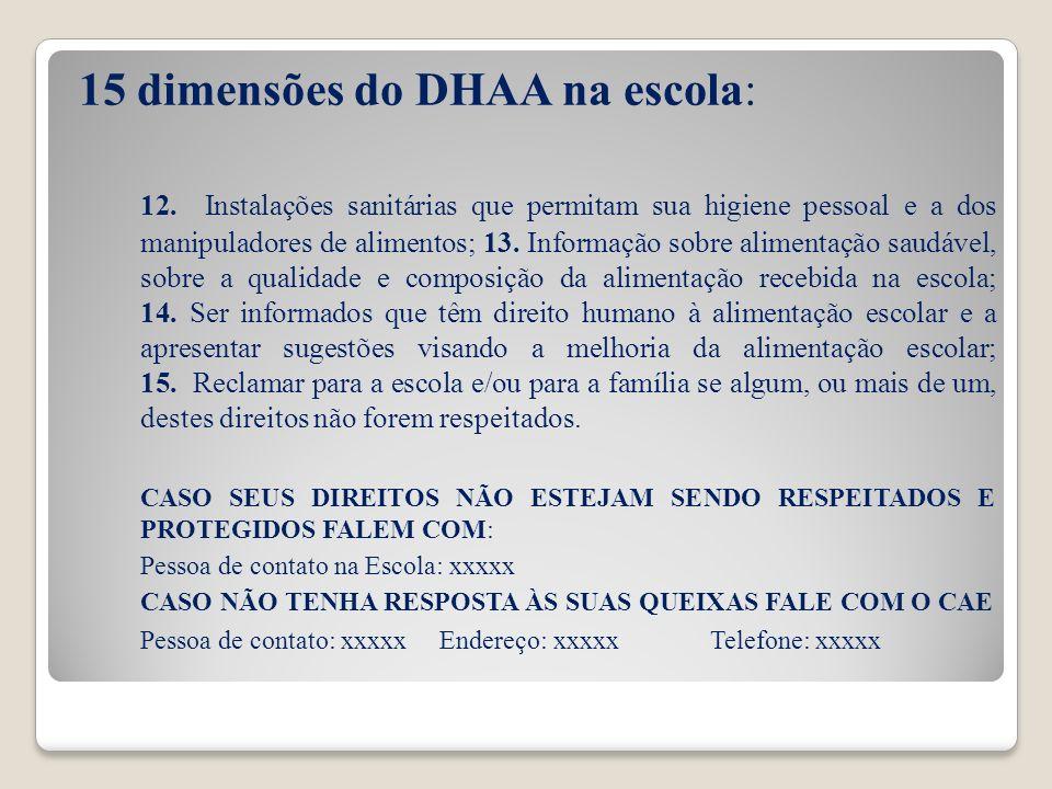 15 dimensões do DHAA na escola: 12. Instalações sanitárias que permitam sua higiene pessoal e a dos manipuladores de alimentos; 13. Informação sobre a