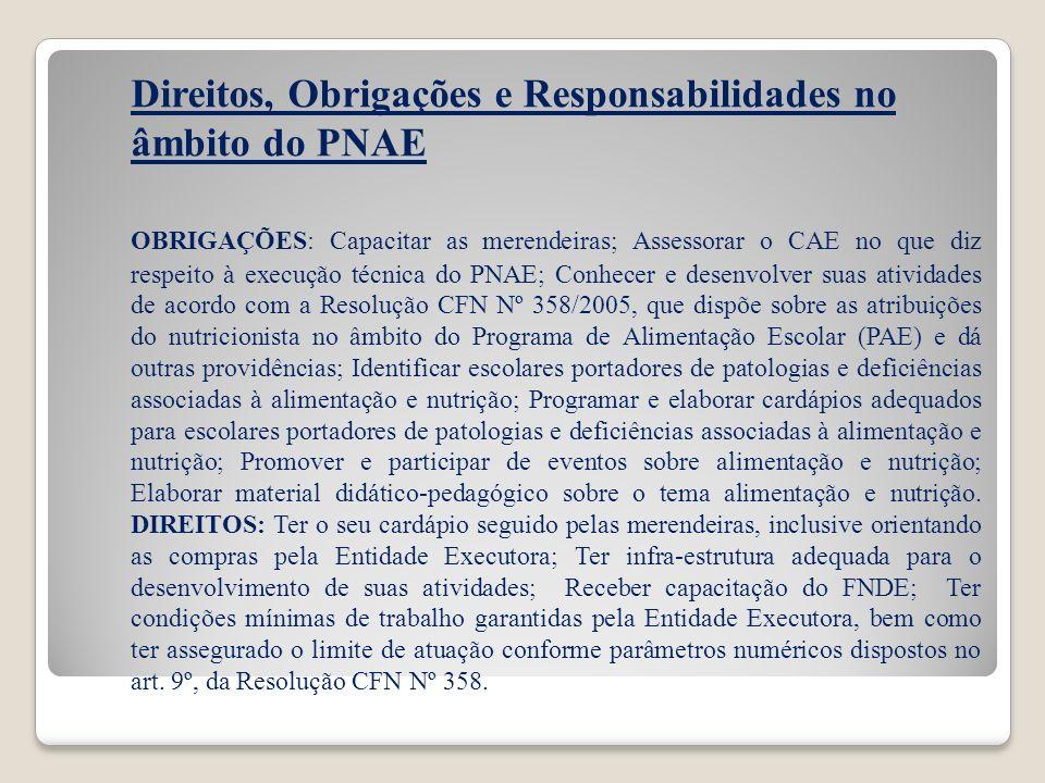 Direitos, Obrigações e Responsabilidades no âmbito do PNAE OBRIGAÇÕES: Capacitar as merendeiras; Assessorar o CAE no que diz respeito à execução técni