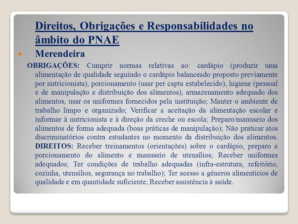 Direitos, Obrigações e Responsabilidades no âmbito do PNAE Merendeira OBRIGAÇÕES: Cumprir normas relativas ao: cardápio (produzir uma alimentação de q