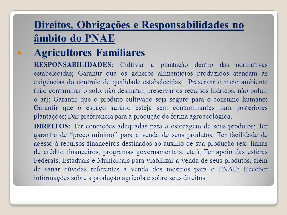 Direitos, Obrigações e Responsabilidades no âmbito do PNAE Agricultores Familiares RESPONSABILIDADES: Cultivar a plantação dentro das normativas estab