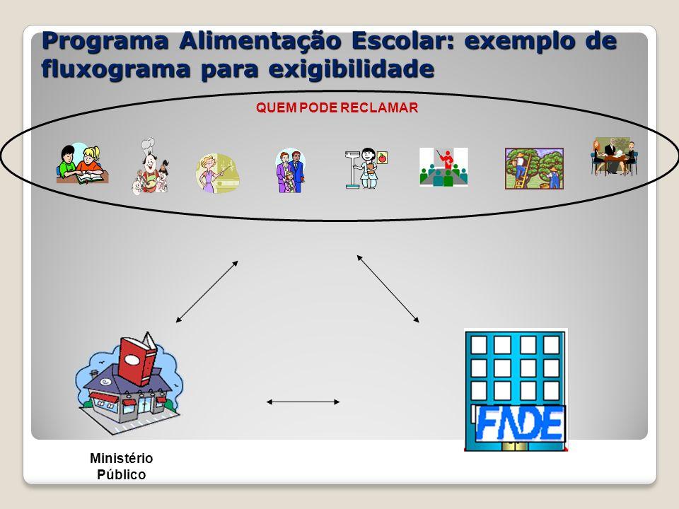 Programa Alimentação Escolar: exemplo de fluxograma para exigibilidade Ministério Público QUEM PODE RECLAMAR