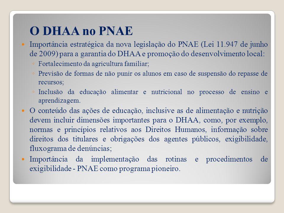 O DHAA no PNAE Importância estratégica da nova legislação do PNAE (Lei 11.947 de junho de 2009) para a garantia do DHAA e promoção do desenvolvimento