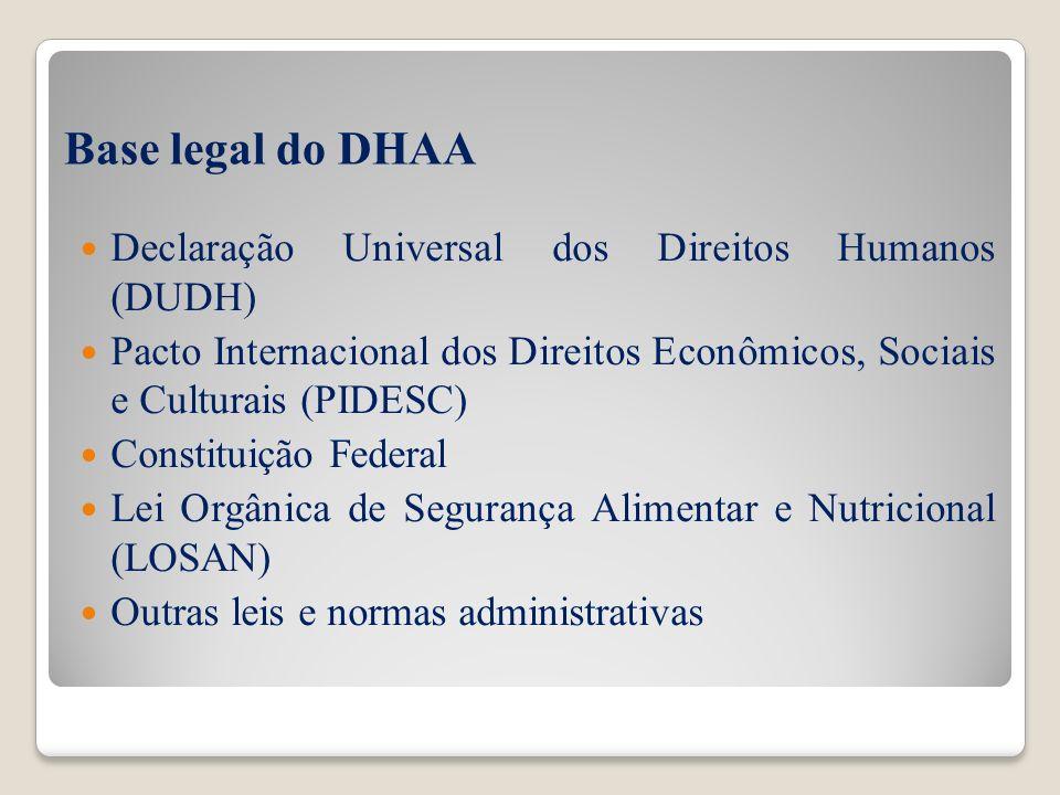 Base legal do DHAA Declaração Universal dos Direitos Humanos (DUDH) Pacto Internacional dos Direitos Econômicos, Sociais e Culturais (PIDESC) Constitu