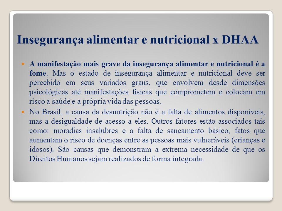 Insegurança alimentar e nutricional x DHAA A manifestação mais grave da insegurança alimentar e nutricional é a fome. Mas o estado de insegurança alim