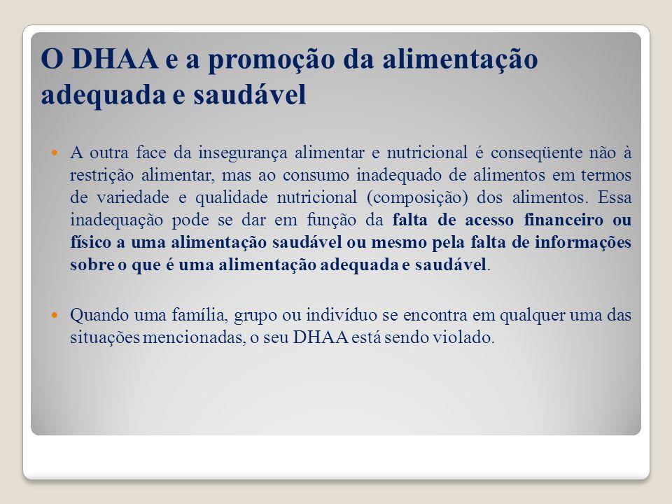 O DHAA e a promoção da alimentação adequada e saudável A outra face da insegurança alimentar e nutricional é conseqüente não à restrição alimentar, ma