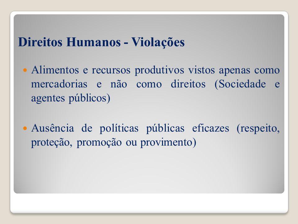 Direitos Humanos - Violações Alimentos e recursos produtivos vistos apenas como mercadorias e não como direitos (Sociedade e agentes públicos) Ausênci