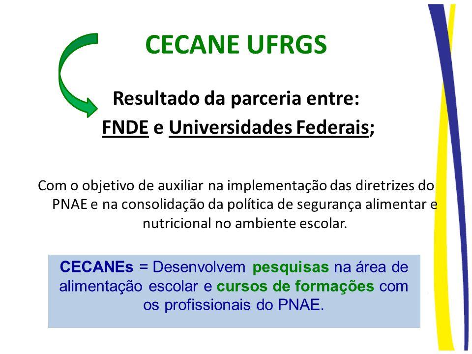 CECANE UFRGS Resultado da parceria entre: FNDE e Universidades Federais; Com o objetivo de auxiliar na implementação das diretrizes do PNAE e na conso