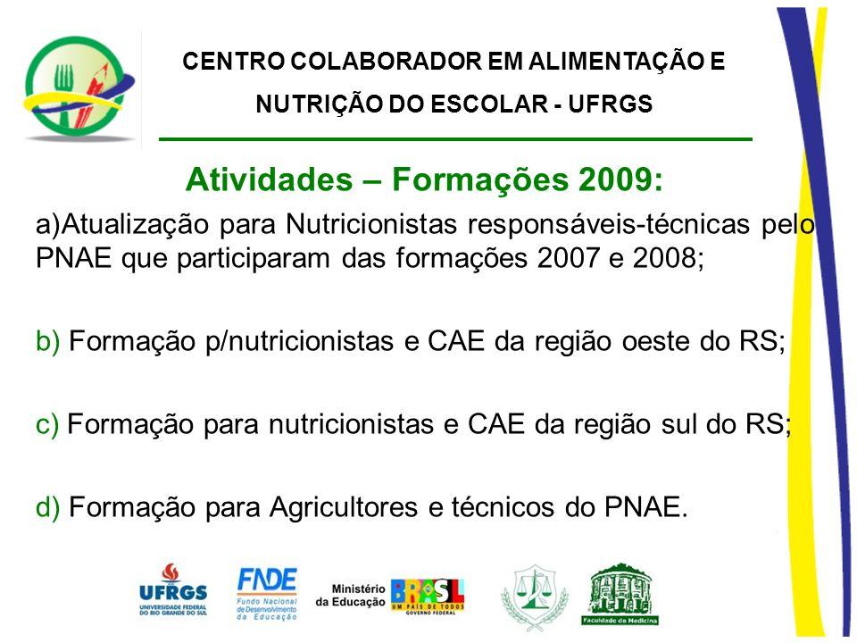 CENTRO COLABORADOR EM ALIMENTAÇÃO E NUTRIÇÃO DO ESCOLAR - UFRGS Atividades – Formações 2009: a)Atualização para Nutricionistas responsáveis-técnicas p