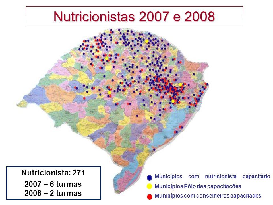 Municípios com nutricionista capacitado Municípios Pólo das capacitações Municípios com conselheiros capacitados Nutricionistas 2007 e 2008 Nutricioni