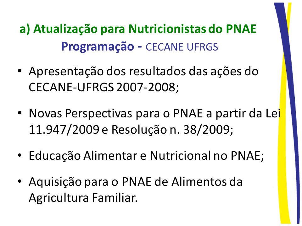 a) Atualização para Nutricionistas do PNAE Programação - CECANE UFRGS Apresentação dos resultados das ações do CECANE-UFRGS 2007-2008; Novas Perspecti