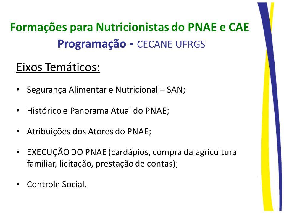 Formações para Nutricionistas do PNAE e CAE Programação - CECANE UFRGS Eixos Temáticos: Segurança Alimentar e Nutricional – SAN; Histórico e Panorama