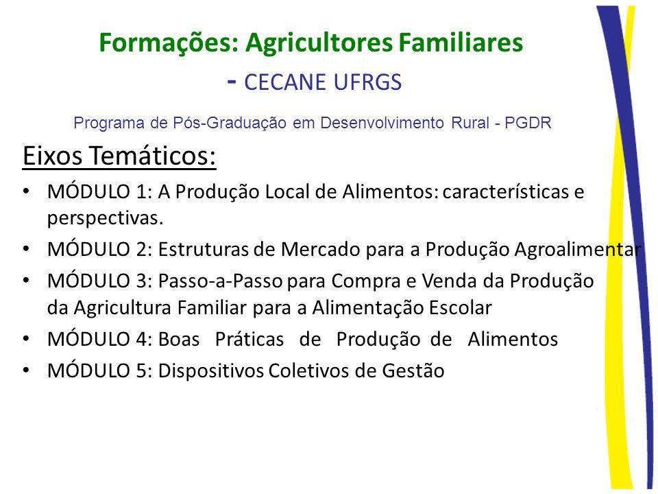 Formações: Agricultores Familiares - CECANE UFRGS Eixos Temáticos: MÓDULO 1: A Produção Local de Alimentos: características e perspectivas. MÓDULO 2: