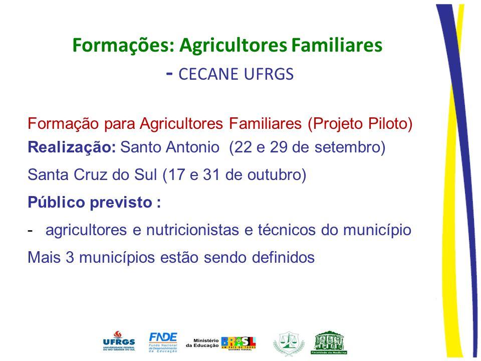 Formação para Agricultores Familiares (Projeto Piloto) Realização: Santo Antonio (22 e 29 de setembro) Santa Cruz do Sul (17 e 31 de outubro) Público