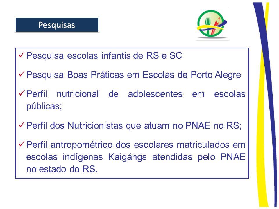 Pesquisa escolas infantis de RS e SC Pesquisa Boas Práticas em Escolas de Porto Alegre Perfil nutricional de adolescentes em escolas públicas; Perfil
