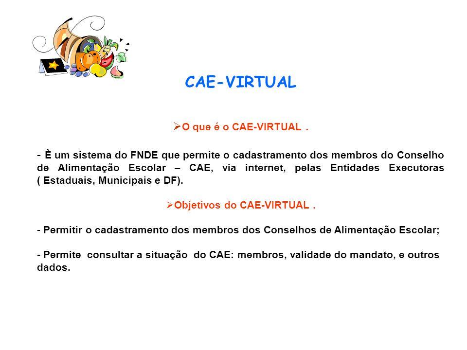 CAE-VIRTUAL O que é o CAE-VIRTUAL. - È um sistema do FNDE que permite o cadastramento dos membros do Conselho de Alimentação Escolar – CAE, via intern