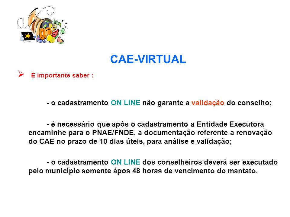CAE-VIRTUAL É importante saber : - o cadastramento ON LINE não garante a validação do conselho; - é necessário que após o cadastramento a Entidade Exe