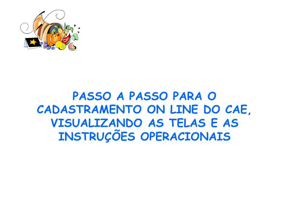 AS INSTRUÇÕES PARA O CADASTRAMENTO DOS MEMBROS NO SISTEMA CAE-VIRTUAL 1º passo - Acesse o site do FNDE, no seguinte endereço www.fnde.gov.br.www.fnde.gov.br 2º passo – após ter acessado o site, clique no Item ALIMENTAÇÃO ESCOLAR, em seguida clique em CONSELHO DE ALIMENTAÇÃO ESCOLAR, na próxima tela, clique em CAE-VIRTUAL sistema de atualização de dados.