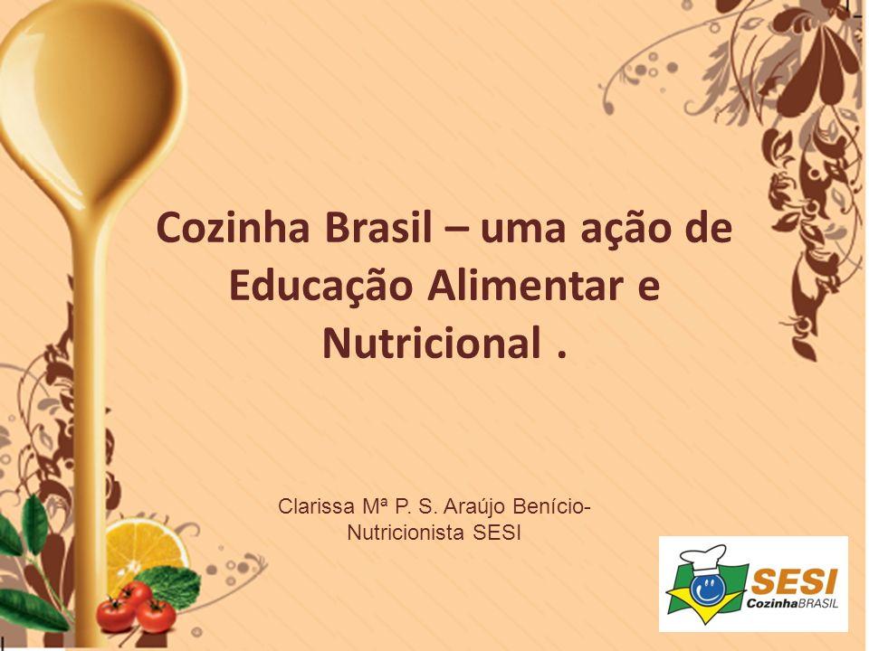Práticas Inovadoras NOME DA AÇÃODESCRIÇÃORESULTADOS Cozinha Brasil nas Escolas Curso Cozinha Brasil adaptado para o público de 05 a 10 anos -100% das escolas do SESI DR/DF atendidas; - Atendimento de 2 escolas públicas e 2 particulares; -Atitudes saudáveis em relação à alimentação; - Inserção das receitas do Cozinha Brasil no lanche das escolas do SESI; - Mobilização da comunidade escolar para o desenvolvimento das seguintes atividades: -Criação de um mascote da Alimentação: Super Saudável - Peça de Teatro sobre alimentação.