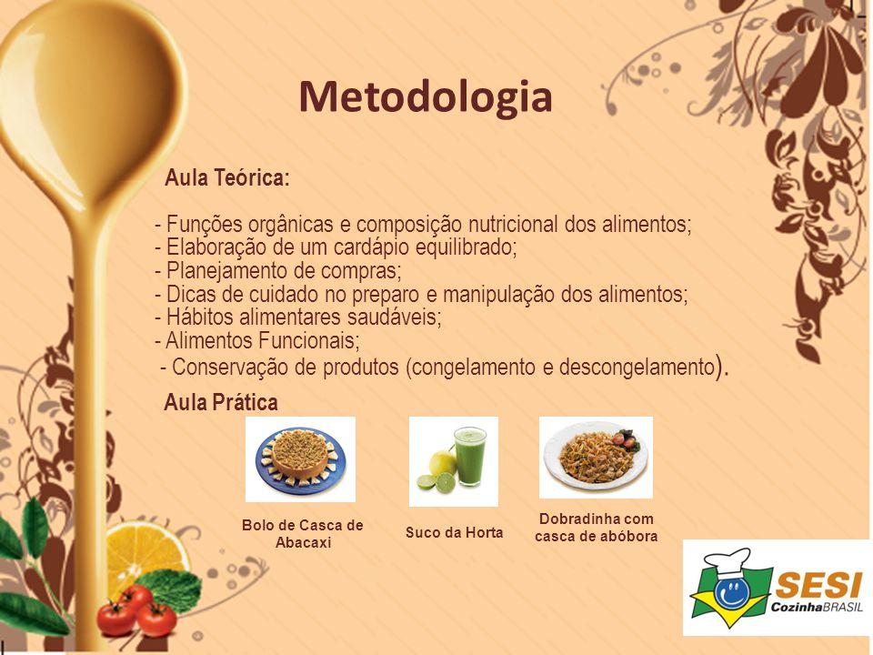 Aula Teórica: - Funções orgânicas e composição nutricional dos alimentos; - Elaboração de um cardápio equilibrado; - Planejamento de compras; - Dicas