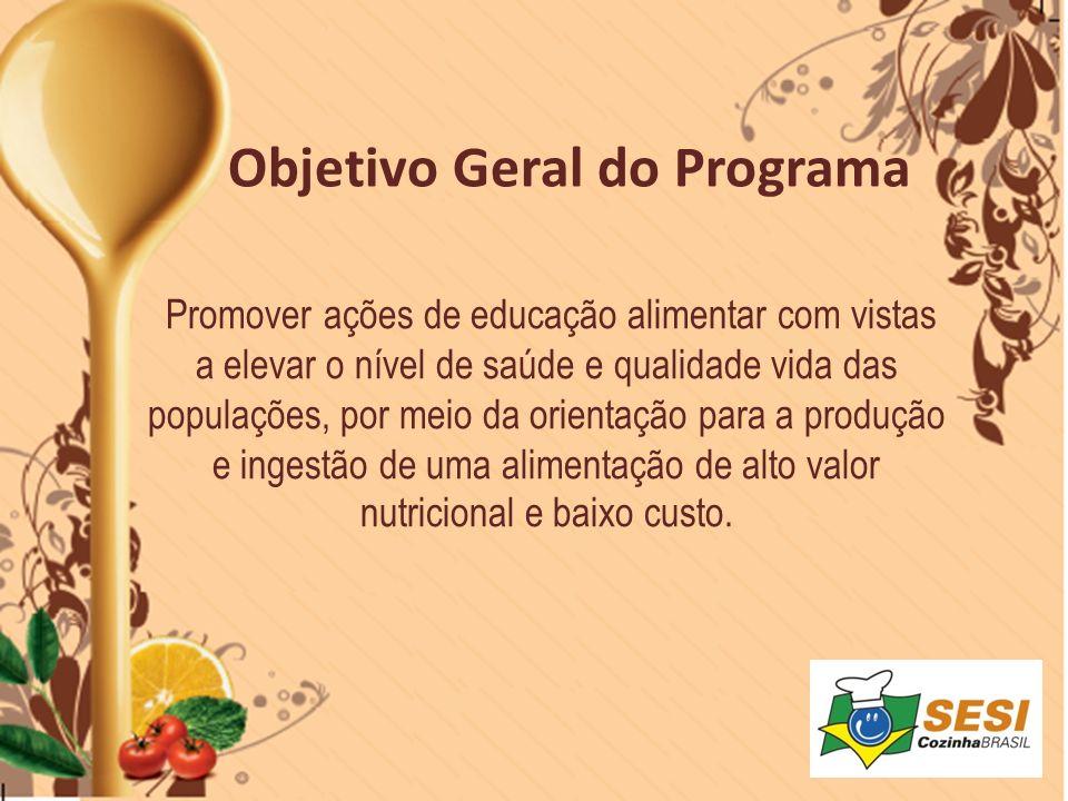 Promover ações de educação alimentar com vistas a elevar o nível de saúde e qualidade vida das populações, por meio da orientação para a produção e in