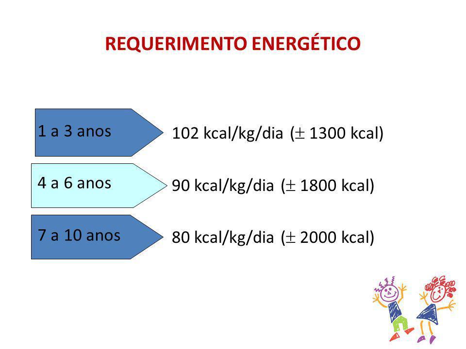 REQUERIMENTO ENERGÉTICO 1 a 3 anos 4 a 6 anos 7 a 10 anos 102 kcal/kg/dia ( 1300 kcal) 90 kcal/kg/dia ( 1800 kcal) 80 kcal/kg/dia ( 2000 kcal)