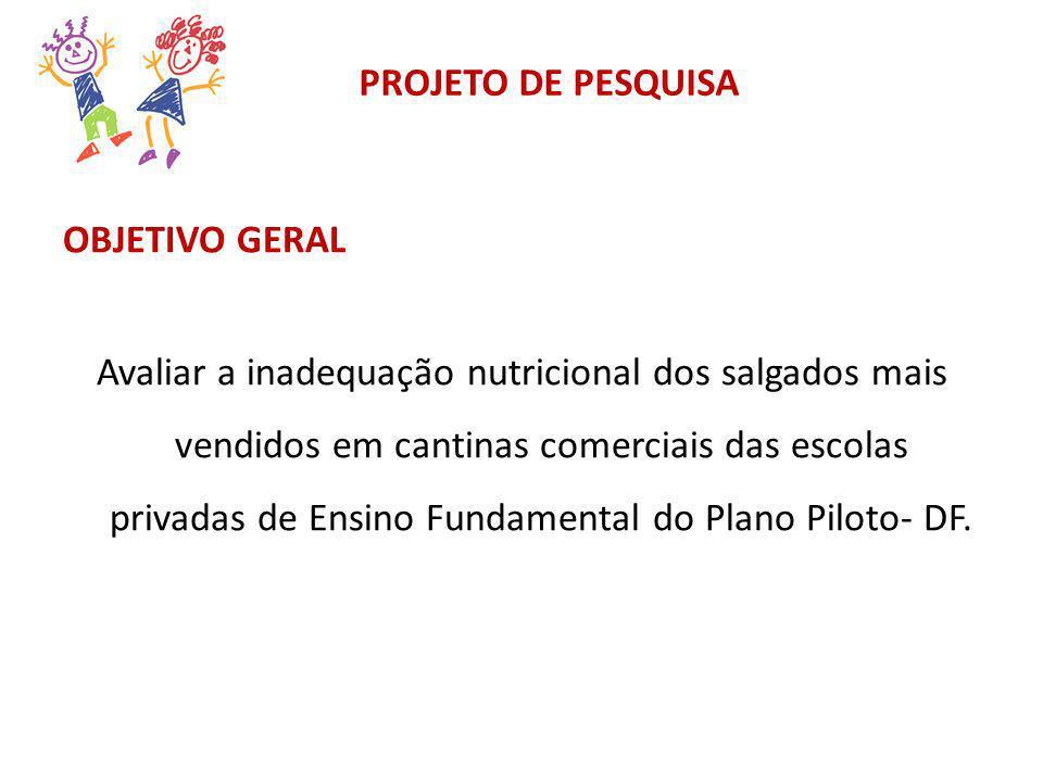 PROJETO DE PESQUISA OBJETIVO GERAL Avaliar a inadequação nutricional dos salgados mais vendidos em cantinas comerciais das escolas privadas de Ensino