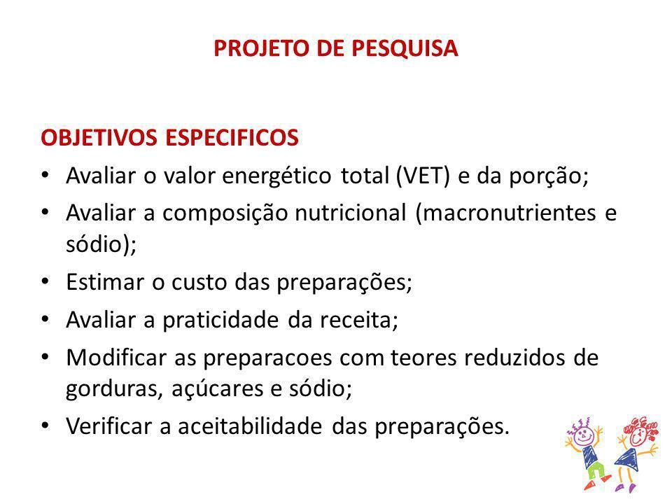 PROJETO DE PESQUISA OBJETIVOS ESPECIFICOS Avaliar o valor energético total (VET) e da porção; Avaliar a composição nutricional (macronutrientes e sódi