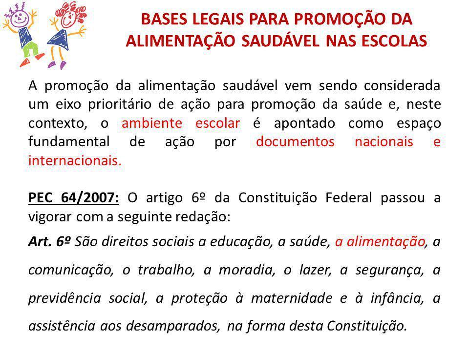BASES LEGAIS PARA PROMOÇÃO DA ALIMENTAÇÃO SAUDÁVEL NAS ESCOLAS A promoção da alimentação saudável vem sendo considerada um eixo prioritário de ação pa